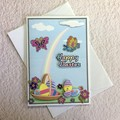 'Cute Chick Hatching' Easter Card with Pink and Orange Butterflies