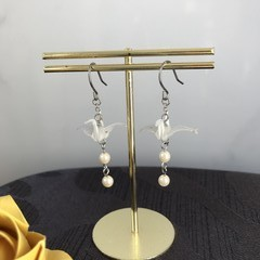 ORIGAMI Crane Earrings (White)