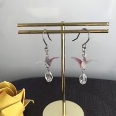 ORIGAMI Crane Earrings (White&Pink)