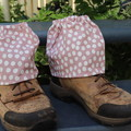 Spot Adult Sock Protectors- Pink, olive and Grey with Orange.