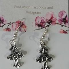 Silver Ornate Cross dangle earrings
