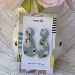 Polymer Clay Earrings - Green, White concrete, Peach and Gold foil