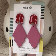 Polymer Clay Earrings - Red and Pink