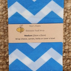 Medium Beeswax Wrap - Chevron Blue