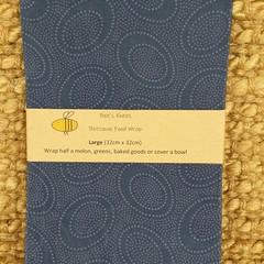 Large Beeswax Wrap - Aboriginal Circles blue