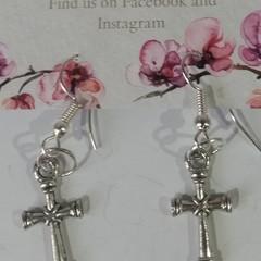 Silver Cross dangle earrings