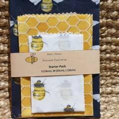 Beeswax Wraps STARTER PACK Bumble Bees