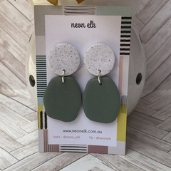 Polymer Clay Earrings - Light Green and White Concrete