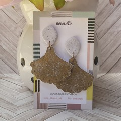 Polymer Clay Earrings - White concrete and Gold