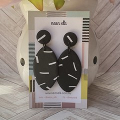 Polymer Clay Earrings - Black and White Dangles