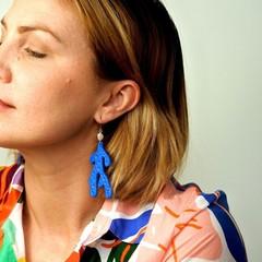 Statement Dangle Earrings , Coral / Polymer Clay Earrings /  Bold Earrings