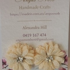Cream multi-layer Fabric Flower & Diamante button earrings