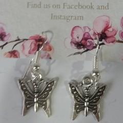 Silver Ornate Butterfly dangle earrings