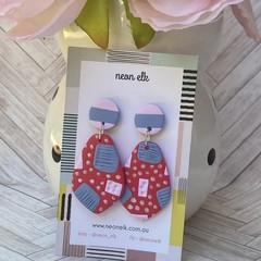 Polymer Clay Earrings - Red, Pink, Blue and Pearl white