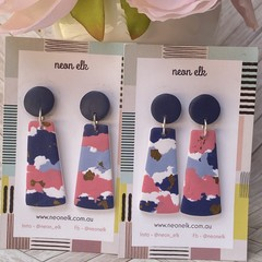 Polymer Clay Earrings - Navy, light blue, pink and gold foil