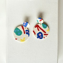 Bright Polymer Clay Earrings / Big Statement Earrings / Coral Print