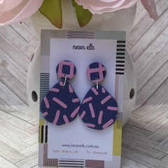 Polymer Clay Earrings - Navy with Pink