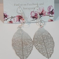 Silver Etched Leaf dangle earrings