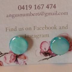Round shell button earrings - purple, white or aqua