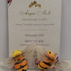 Bumble Bee button earrings