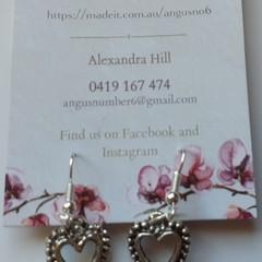 Silver Ornate Heart dangle earrings