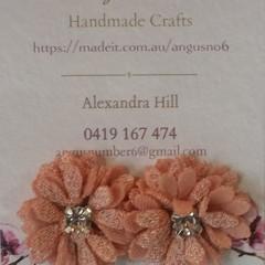Peach coloured multi-layer Fabric Flower & Diamante button earrings