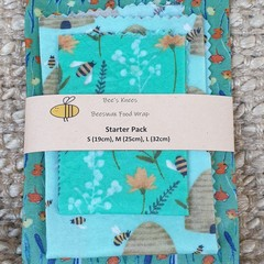 Beeswax Wraps STARTER PACK Bee Basket Green