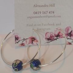 Floral Bead silver hoop earrings - blue, green, or red