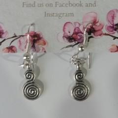 Silver Double Swirl dangle earrings