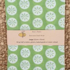Large Beeswax Wrap - Green Circles