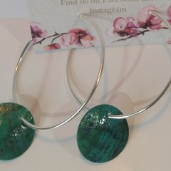 Green Shell and Silver hoop earrings