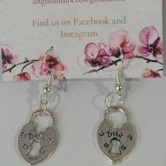 Silver Heart Padlock dangle earrings