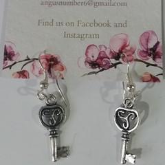 Silver Ornate Key dangle earrings