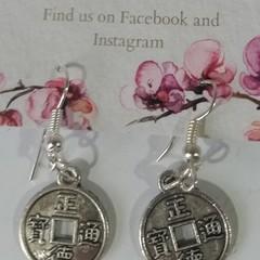 Silver 'Lucky' Coin dangle earrings
