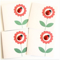 FREE POST | 4 Ladybug Cards | Blank, Thank You, Birthday, Thinking of You