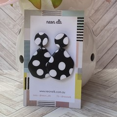 Polymer Clay Earrings - Black with White Polka Dots