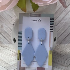 Polymer Clay Earrings - Light Blue with slight sparkle (Large)