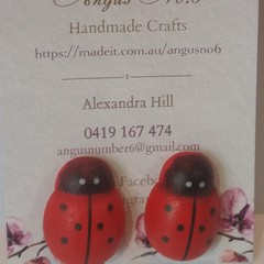 Ladybird timber button earrings - 'mum' and 'daughter' sizes available