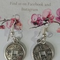 Silver 'Lucky' Coin dangle earrings