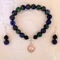 Azurite, Onyx and Silver Bracelet & Earrings