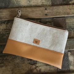 Small Flat Clutch - Natural Linen