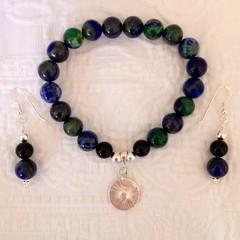 Azurite, Onyx and Silver Bracelet & Earrings