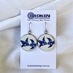 Large Blue Willow Swallow Earrings