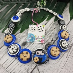 Me Love Cookies - Button Necklace - Button Earrings - Set