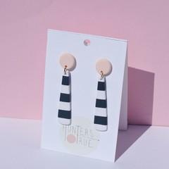 Preppy Stripe Tapered Dangles / Polymer Clay Earrings / Statement Earrings
