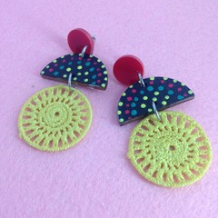 Triple layer handpainted & fabric earrings