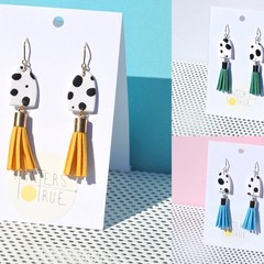 Animal Print Tassel Earrings / Statement Earrings / Polymer Clay Earrings
