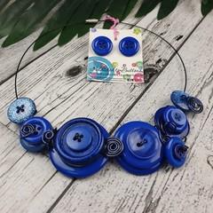 Navy Blue Sparkle Choker Wire Necklace - Button Jewellery - Earrings