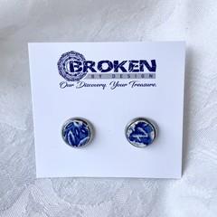 Blue Willow Patterned  Stud Earrings