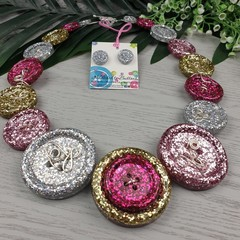 Mixed Sparkle Glitter Button Necklace - Button Earrings - Jewellery